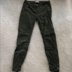 Zara army green ankle zip pants 6